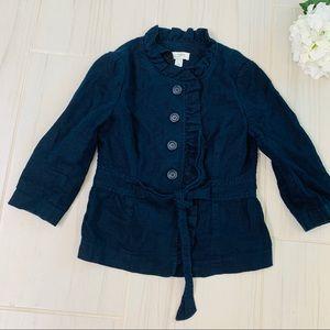 Loft Blue Linen Ruffle Jacket Blazer Pea Coat 4